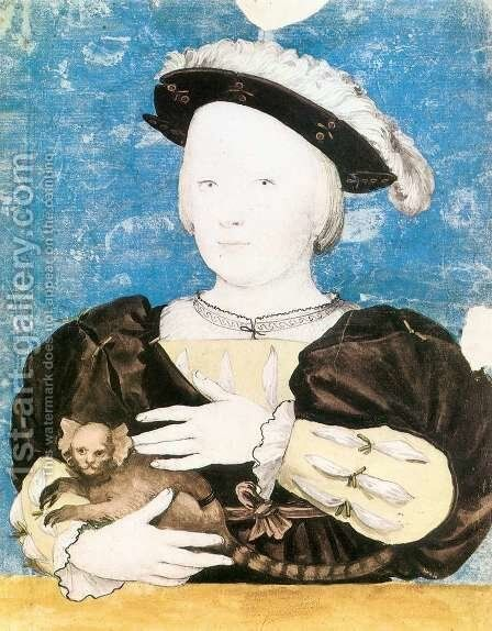 Edward, Prince of Wales, with Monkey 1541-42 by Hans, the Younger Holbein - Reproduction Oil Painting