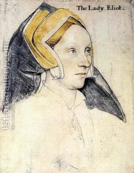 Lady Elyot  1532-33 by Hans, the Younger Holbein - Reproduction Oil Painting