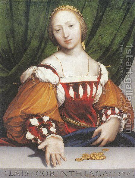 Lais of Corinth 1526 by Hans, the Younger Holbein - Reproduction Oil Painting