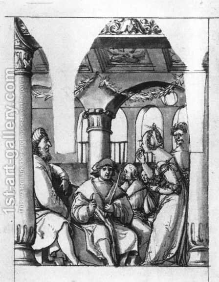 Leaina Before the Judges 1517-18 by Hans, the Younger Holbein - Reproduction Oil Painting