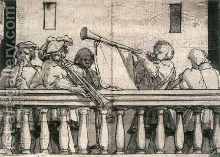 Musicians on a Balcony c. 1527 by Hans, the Younger Holbein - Reproduction Oil Painting