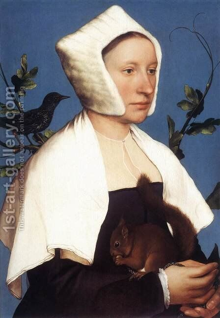 Portrait of a Lady with a Squirrel and a Starling 1527-28 by Hans, the Younger Holbein - Reproduction Oil Painting