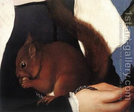 Portrait of a Lady with a Squirrel and a Starling (detail) 1527-28 by Hans, the Younger Holbein - Reproduction Oil Painting