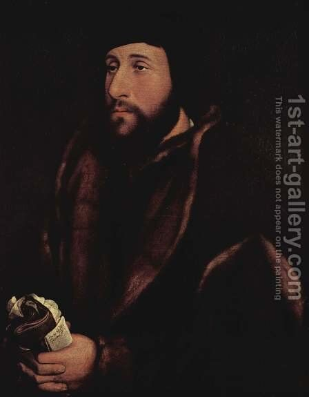 Portrait of a Man Holding Gloves and Letter c. 1540 by Hans, the Younger Holbein - Reproduction Oil Painting