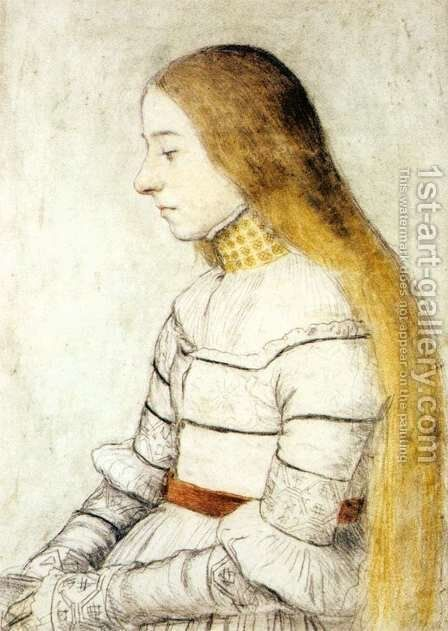 Portrait of Anna Meyer c. 1526 by Hans, the Younger Holbein - Reproduction Oil Painting