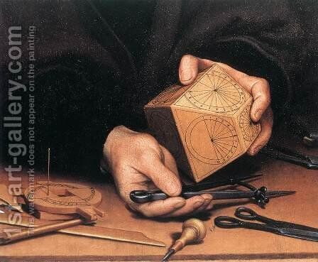 Portrait of Nikolaus Kratzer (detail) 1528 by Hans, the Younger Holbein - Reproduction Oil Painting