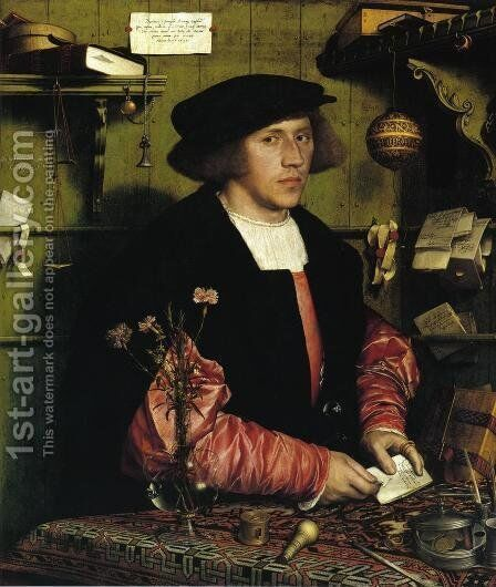 Portrait of the Merchant Georg Gisze 1532 by Hans, the Younger Holbein - Reproduction Oil Painting