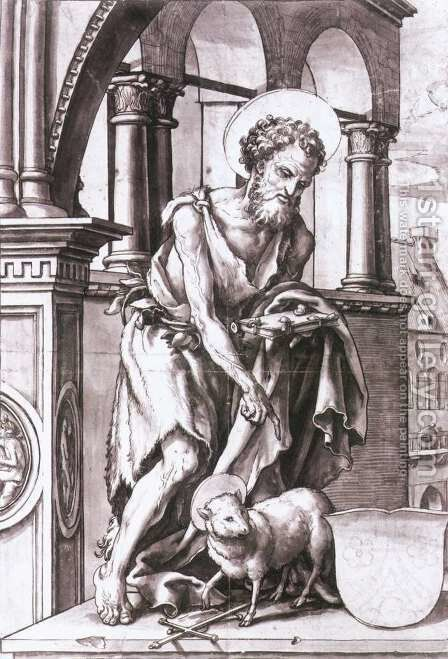 St John the Baptist 1519-20 by Hans, the Younger Holbein - Reproduction Oil Painting
