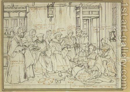 Study for the Family Portrait of Sir Thomas More c. 1527 by Hans, the Younger Holbein - Reproduction Oil Painting