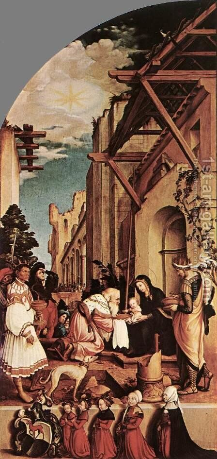 The Oberried Altarpiece (left wing) 1521-22 by Hans, the Younger Holbein - Reproduction Oil Painting
