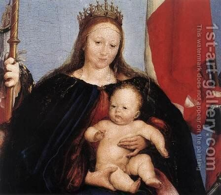 The Solothurn Madonna (detail) 1522 by Hans, the Younger Holbein - Reproduction Oil Painting