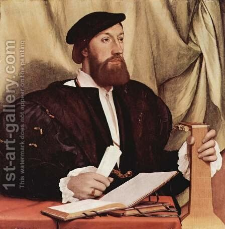 Unknown Gentleman with Music Books and Lute c. 1534 by Hans, the Younger Holbein - Reproduction Oil Painting