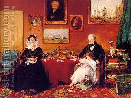 The Langford Family in their Drawing Room  1841 by James Holland - Reproduction Oil Painting