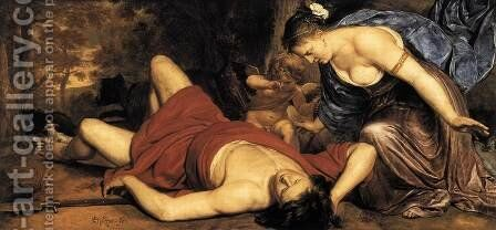 Venus and Amor Mourning the Death of Adonis c. 1655 by Cornelis Holsteyn - Reproduction Oil Painting