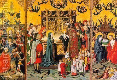 Retable of the Seven Joys of the Virgin  1480 by Master of the Holy Kindred - Reproduction Oil Painting