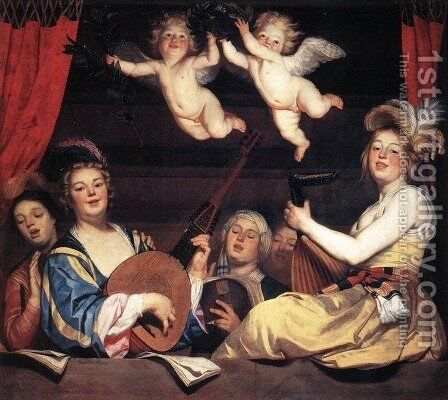 Concert on a Balcony 1624 by Gerrit Van Honthorst - Reproduction Oil Painting
