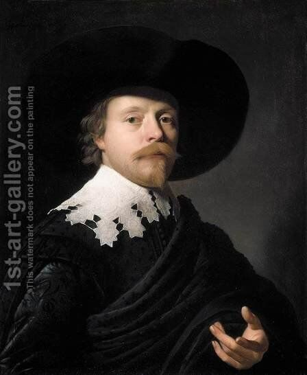 Portrait of a Gentleman 1631 by Gerrit Van Honthorst - Reproduction Oil Painting