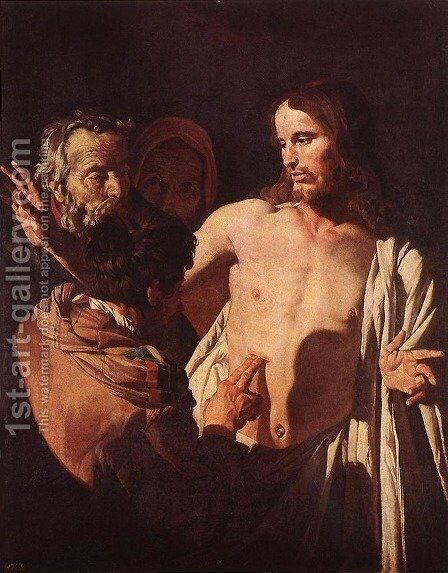 The Incredulity of St Thomas c. 1620 by Gerrit Van Honthorst - Reproduction Oil Painting