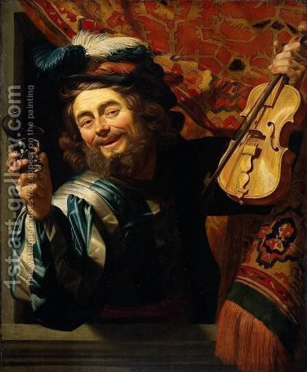 The Merry Fiddler  1623 by Gerrit Van Honthorst - Reproduction Oil Painting