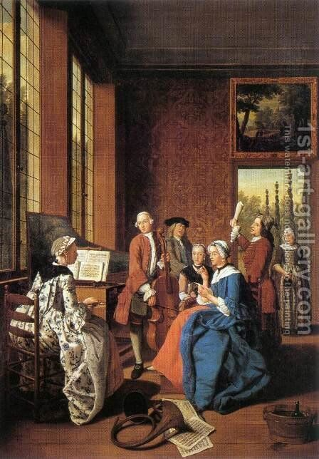 Concert in an Interior 1764 by Jan Jozef, the Younger Horemans - Reproduction Oil Painting