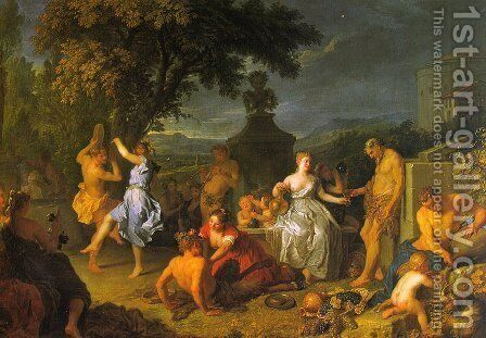 Bacchanal   1719 by Michel-Ange Houasse - Reproduction Oil Painting