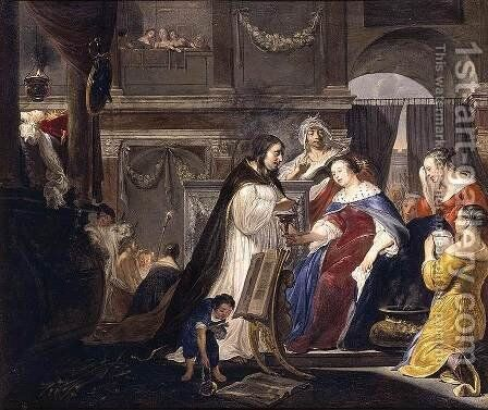 Commemoration of King Mausolus by Queen Artemisia by Arnold Houbraken - Reproduction Oil Painting