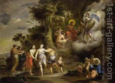 Pallas Athene Visiting Apollo on the Parnassus 1703 by Arnold Houbraken - Reproduction Oil Painting