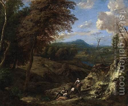 Wooded Hilly Landscape by Cornelis Huysmans - Reproduction Oil Painting