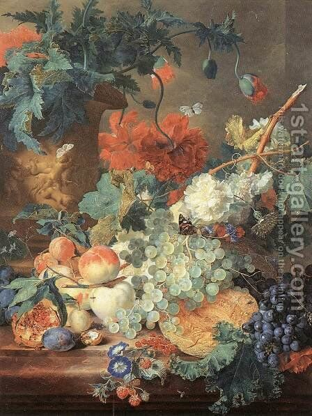 Fruit and Flowers c. 1720 by Jan Van Huysum - Reproduction Oil Painting