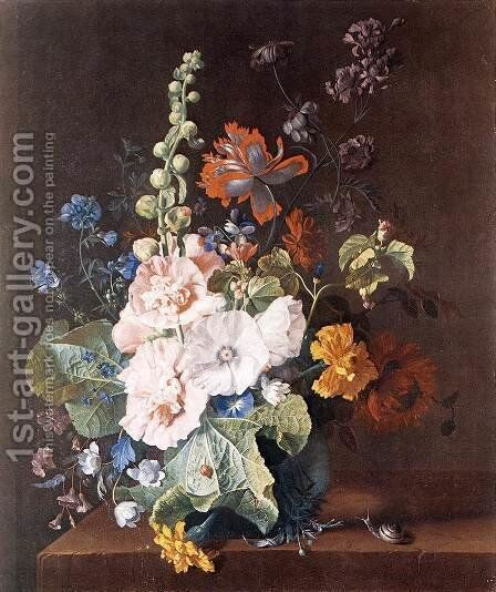 Hollyhocks and Other Flowers in a Vase c. 1710 by Jan Van Huysum - Reproduction Oil Painting