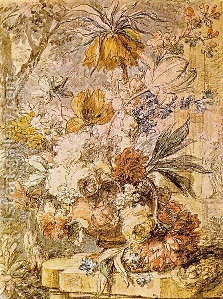 Vase with Flowers 1726 by Jan Van Huysum - Reproduction Oil Painting