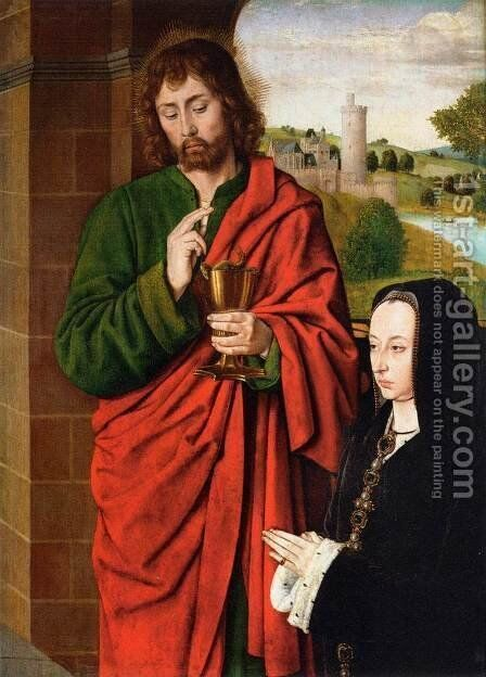 Anne of France- Duchess of Bourbon, Presented by St. John the Evangelist  1492-93 by Master of Moulins  (Jean Hey) - Reproduction Oil Painting