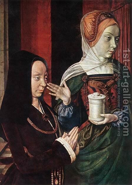 Mary Magdalen and a Donator 1498-1500 by Master of Moulins  (Jean Hey) - Reproduction Oil Painting