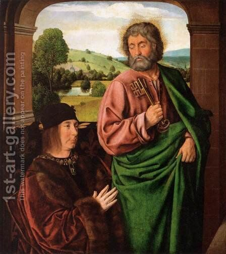 Pierre II- Duke of Bourbon, Presented by St. Peter  1492-93 by Master of Moulins  (Jean Hey) - Reproduction Oil Painting
