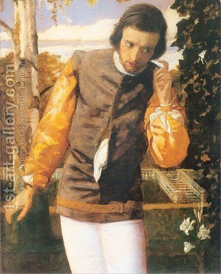 Benedick in the Arbor 1852-54 by Arthur Hughes - Reproduction Oil Painting