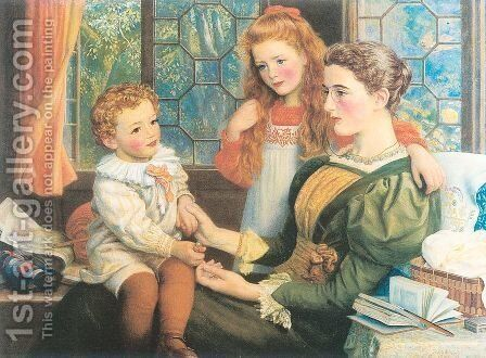 Mrs. Norman Hill and Children 1897 by Arthur Hughes - Reproduction Oil Painting