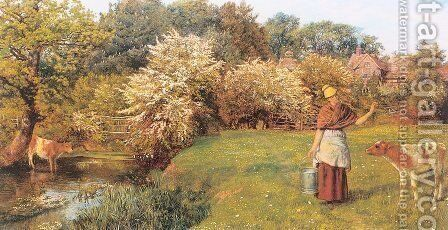 Poll the Milkmaid Late 1860s by Arthur Hughes - Reproduction Oil Painting