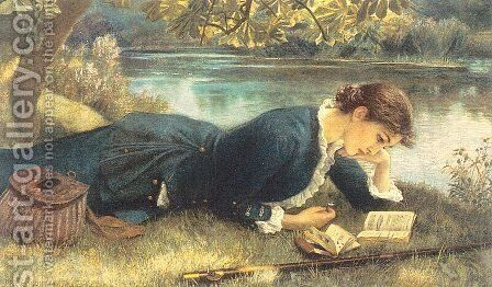 The Compleat Angler 1884 by Arthur Hughes - Reproduction Oil Painting