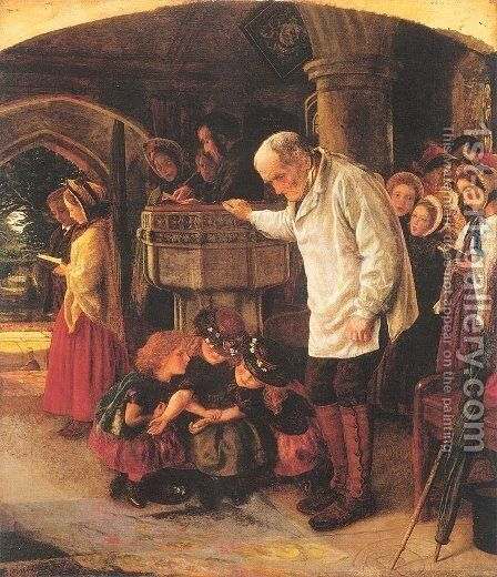 The Font 1863-64 by Arthur Hughes - Reproduction Oil Painting