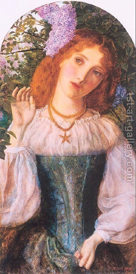 The Lady with the Lilacs 1862 by Arthur Hughes - Reproduction Oil Painting
