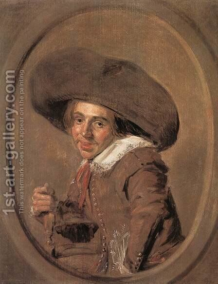 A Young Man in a Large Hat 1628-30 by Frans Hals - Reproduction Oil Painting