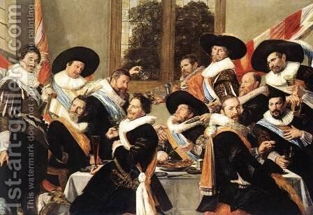 Banquet of the Officers of the St Hadrian Civic Guard Company (2)  c. 1627 by Frans Hals - Reproduction Oil Painting
