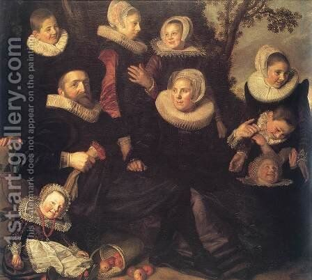 Family Portrait in a Landscape c. 1620 by Frans Hals - Reproduction Oil Painting