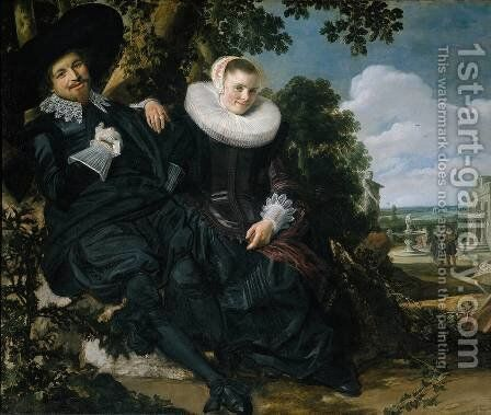 Married Couple in a Garden c. 1622 by Frans Hals - Reproduction Oil Painting