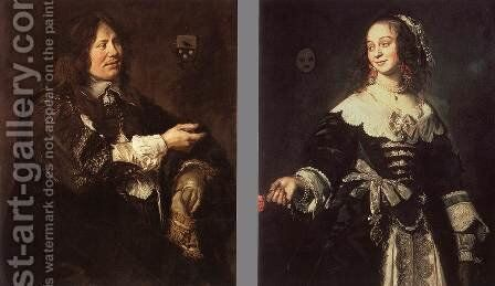 Stephanus Geraerdts and Isabella Coymans  1650-52 by Frans Hals - Reproduction Oil Painting