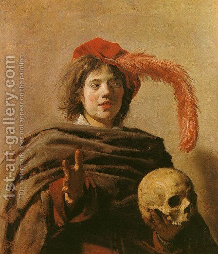 Young Man with a Skull (Vanitas)  1626-28 by Frans Hals - Reproduction Oil Painting
