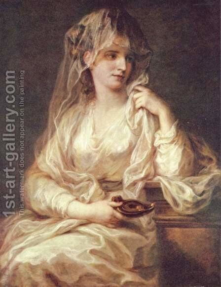 Portrait of a Woman Dressed as Vestal Virgin by Angelica Kauffmann - Reproduction Oil Painting