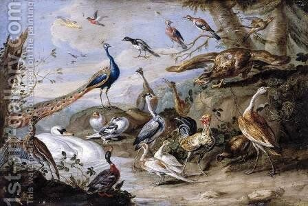 Birds on a Riverbank 1655 by Jan van Kessel - Reproduction Oil Painting