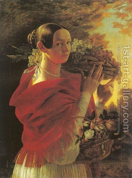 Young Woman with Basket  1835 by Ivan Khrutsky - Reproduction Oil Painting