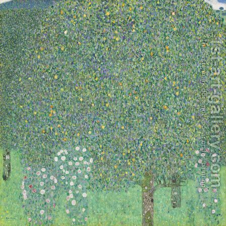 Roses Under the Trees  1905 by Gustav Klimt - Reproduction Oil Painting